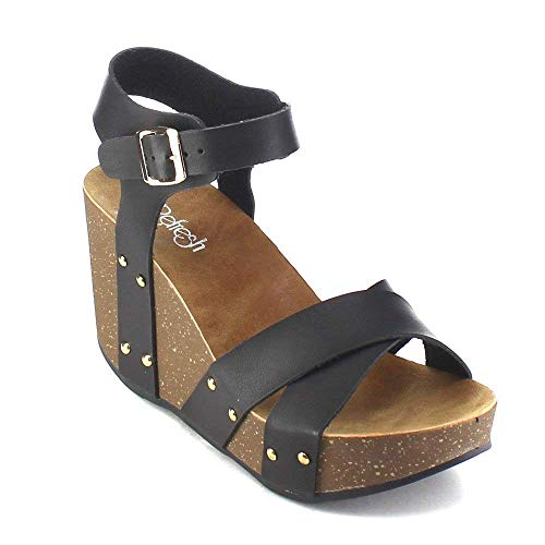 25e712d21da Refresh MARA-05 Women s Ankle Strap Comfort Criss Cross Platform Wedge  Sandal Black