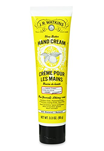 JR Watkins Natural Moisturizing Hand Cream, Lemon Cream, Hydrating Hand Moisturizer with Shea Butter, Cocoa Butter, and Avocado Oil, USA Made and Cruelty Free, 3.3oz