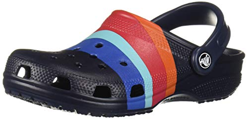Crocs Classic Graphic Clog, navy/multi, 6 US Men/ 8 US Women