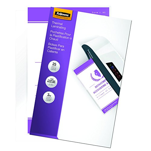 Fellowes Laminating Pouches, Thermal, Legal, 3 Mil, 25 Pack (52006)