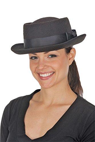 Jacobson Hat Company Men's Deluxe Felt Pork Pie, Black, Adult