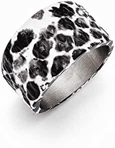 Stainless Steel Polished Black and White Textured Ring