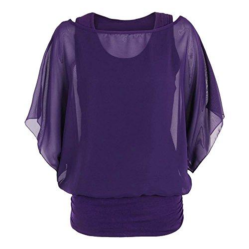 2 1 en Mousseline Femme en Manches 2 Haut 1 Nouveau Soie en Janisramone Purple Top sans De Chemisier wxCgq4SHnA