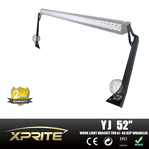 Xprite Jeep YJ 52 Inch Light Bar Upper Windshield Mounting Bracket With Lower Corner Brackets