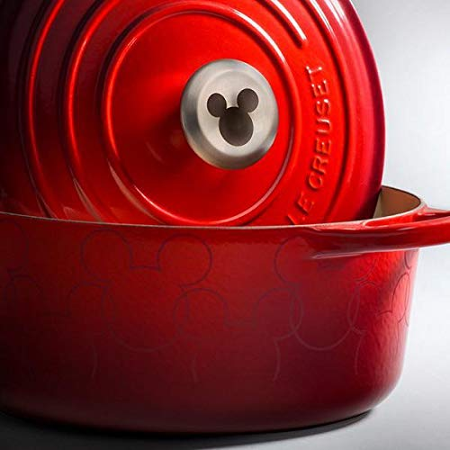 Le Creuset LS2501-2467MMSS Mickey Mouse Signature Enameled Cast Iron 4-1/2-Quart Dutch Oven Round, Cerise with Applique (Mouse Mickey Round)