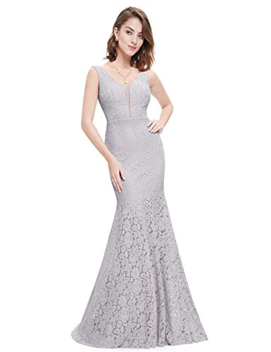 Ever-Pretty Womens Sexy Double V-Neck Sheer Bust Long Lace Evening Gown 8 US Grey