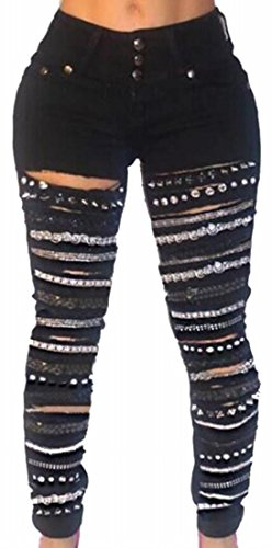 pujingge Women Hipster Slim Chain Ripped Holes Jeans Trousers Pants Black XL