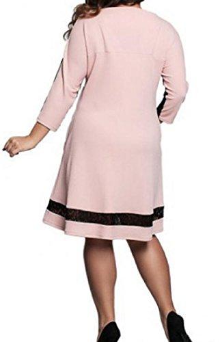 Rosa Più Tasche Di Merletto Vestito Periodo Lunghezza Comodi Colore Donne Del 4xl Di Metà Impiombano Formato fcqz6waBX