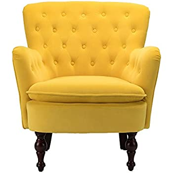 Amazon Com Mustard Velvet Tufted Accent Chair Isabella