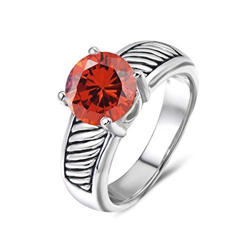 UNY Ring Vintage Antique Femme Designer Fashion Brand David Jewelry Love Wedding Christmas Valentine Gift (8, Garnet-Zirconia)