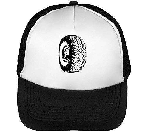 Black Wheel Gorras Hombre Snapback Beisbol Negro Blanco