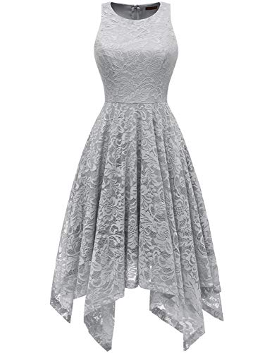 - Bridesmay Women's Boatneck Sleeveless Elegant Floral Lace Asymmetrical Hanky Hem Cocktail Party Midi Dress Grey XL