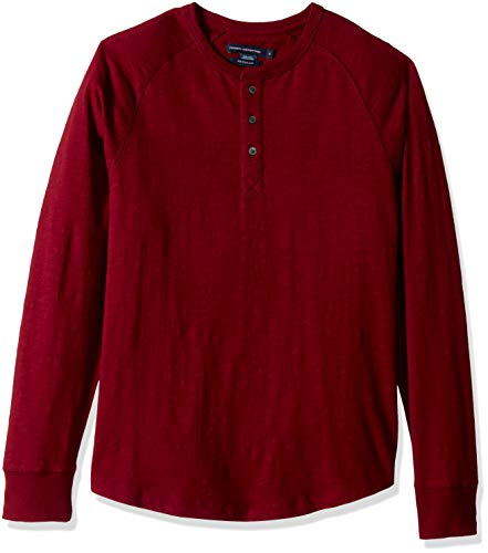 (French Connection Men's 3 Button Solid Color Cotton Henley Shirt, Raspberry Beret,)