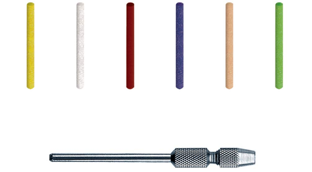 Dedeco Sunburst - 2mm Pins - Precision Thermoplastic Rotary Cleaning and Polishing Tool Set, Assorted: 8 Each 6 Grit Textures Plus 7081 Mandrel (49 Piece)
