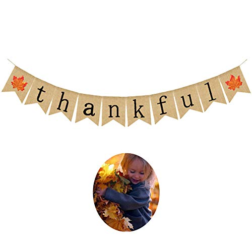 BOZOA Thanksgiving Banner - Jute Burlap Thankful Banner Maple Leaf Design Fall Banner Rustic Thanksgiving Decoration