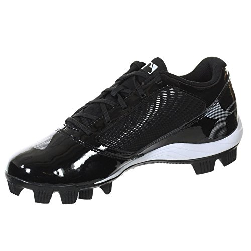 UNDER ARMOUR YARD RM LOW JR BLACK / BLACK YOUTH MOLDED BASEBALL CLEATS 11K - Image 1