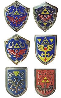 Kyodo The Legend of Zelda: Shield Pin Badge Collection Set of 6 ()