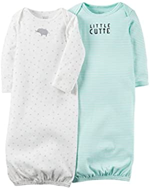Carter's Just One You Unisex Baby 2 Pack Gown Set- Mint