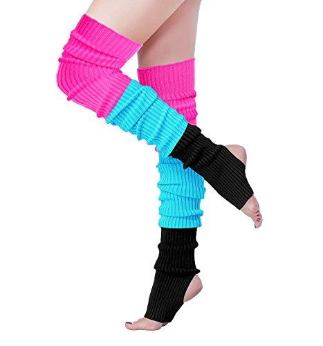 V28 Women 80s Ribbed Knit Stirrup Neon Dance Sports Yoga Long Leg Warmers (One Size, THole80-Mix3E)