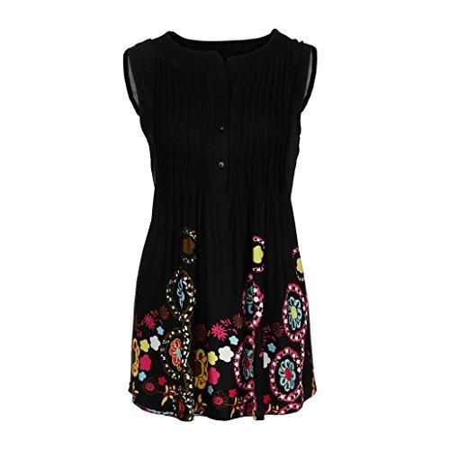 Adeshop Top stampati lunga Pure Circolari Fashion Grandi T maniche Nero Camicetta Donna Vest Abbigliamento Casual Sezione Color larghi Senza shirt rZwYqrBxS