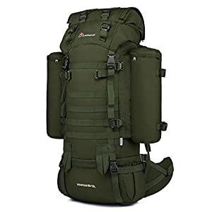Mardingtop 65+10L/65L Internal Frame Backpack Tactical Military Molle Rucksack for Camping Hiking Traveling with Rain Cover, YKK Zipper YKK Buckle