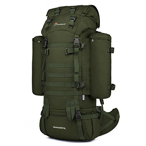 35 Internal Frame Pack - Mardingtop 65+10L Internal Frame Backpack with Rain Cover for Military Camping Hiking Traveling Army Green-M403