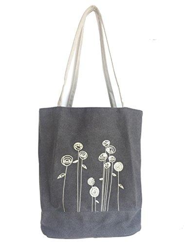 Lonson Women's Shoulder Bag Handbags Canvas Weekend Shopping Tote Bag (Grey) by Lonson