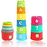 PIXNOR conjunto de descubrimiento no tóxico juguetes educativos bebé niño niño mida tazas de apilamiento