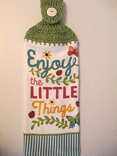 Crocheted Enjoy the Little Things Kitchen Towel with Tea Leaf Yarn