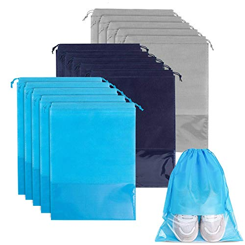 Whaline 15 Pieces Travel Shoe Bag, Large Non-woven Drawstring Shoes Storage Bags with Transparent Slot for Men and Women (Navy, Sky blue, Light grey) ()