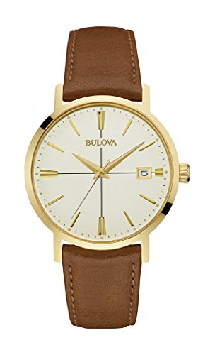 Bulova mens 97B151 20mm Leather Calfskin Brown Watch - Bulova Mens Leather Wrist Watch