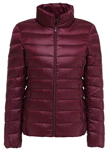 - Sawadikaa Women's Ultra Light Packable Winter Down Puffer Jacket Coat Quilted Lightweight Down Parka Jacket Wine Red X-Large