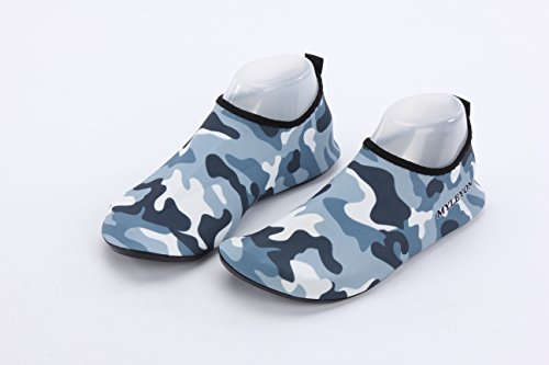 Ultralight Wading Shoe (Couple Fashion Camouflage Men Beach Wading Shoes,Quick Dry,Aqua Socks for Beach Swim Surf Yoga Exercise (Camouflage light blue, XL(US 6.5-7.5)))