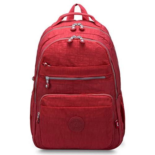Oakarbo Backpack Medium Multi-Pocket School Bag Nylon Travel Daypack(1604  Red) 3d4e088039a09