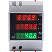 Yeeco AC 80-300V 100A Din-Rail Digital Multi Function Meter Gauge Multimeter Voltage Current Power Electricity Meter LED Voltmeter Ammeter Volt Amp Power Frequency Factor Monitor