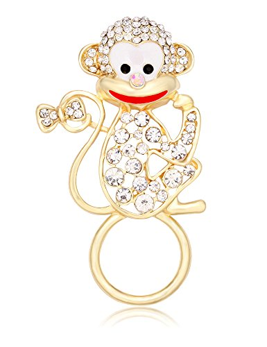 TUSHUO Elegant Pretty Travelling Monkey Holiday Regular Eyeglasses Sunglasses Reading Glasses Holder Magnetic Brooch or Chic ID Badge Retractable Badge Holder for Work Pin Beautiful Gold