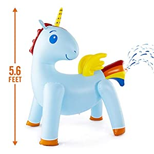 JumpOff Jo Unicorn Yard Water Sprinkler, Large Inflatable Toy, 44 x 60 x 67 Inches