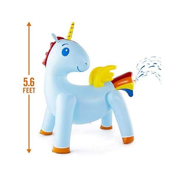 JumpOff Jo Unicorn Yard Water Sprinkler, Large Inflatable Toy, 44 x 60 x 67 Inches 3