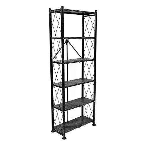 (Origami 6 Tier Classic Stamped Steel Bookcase Organizer Storage Rack, Black)