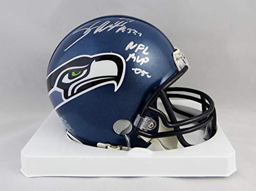 - Shaun Alexander Autographed Seattle Seahawks 02-11 TB Mini Helmet w/NFL MVP- Beckett Auth Silver