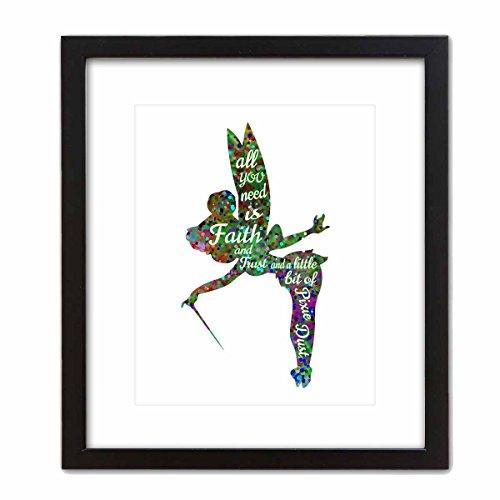 (ArtDash® Pop Art Print: Watercolor Splatter TINKERBELL w/Inspirational Quote (8