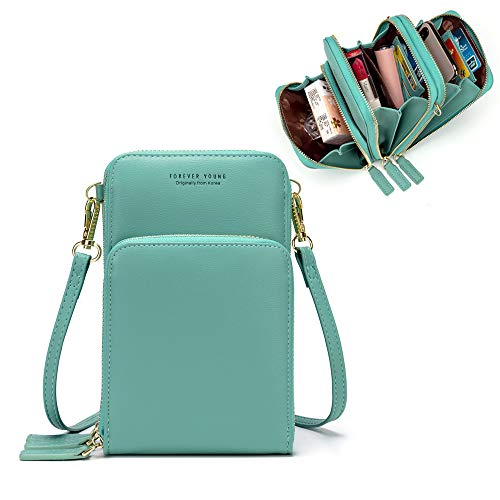Kingto Cellphone Purse Small Cross body Bag Waterproof Smartphone Wallet Phone Holder for Women (lake blue) ()