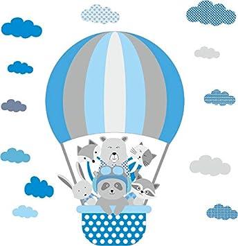 Greenluup Wandsticker Wandtattoo Heissluftballon Tiere Elefant Waldtiere Blau Grau Kinderzimmer Madchen Junge Baby Wolken 36 Amazon De Baby