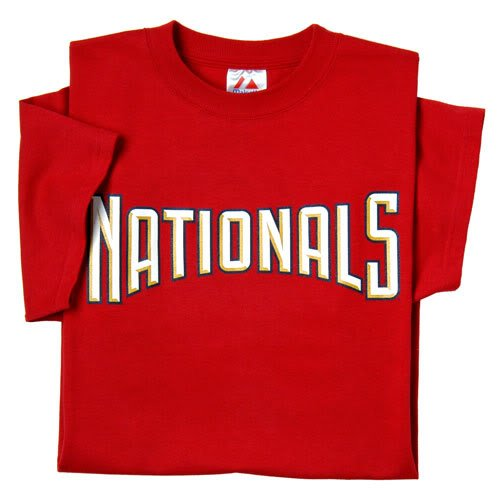 Old Style Washington Nationals Block Letters/Not New Cursive (Adult 3XL) 100% Cotton Crewneck MLB Officially Licensed Majestic Major League Baseball Replica T-Shirt - Letter National