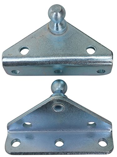 Angled Lift Support Bracket Outside Mount - Zinc Plated 10 Gauge Steel - 10mm Ball Stud - Gas Shock Mounting - Lid Strut Prop Spring Mount