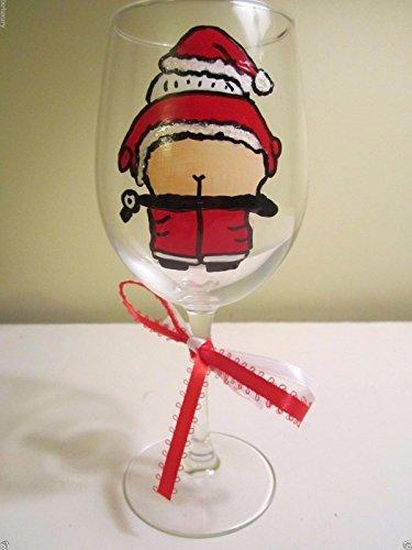 Painted Wine Glass SANTA MOONING 12 oz. Christmas