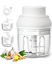 Electric Mini Garlic Chopper, Portable&Wireless Rechargeable Food Chopper Processor with 2 Cup 250&100ML for Chop Onion Garlic Vegetable Pepper Meat Salad and Baby Food (White)