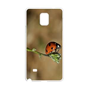 {Funny Series} Samsung Galaxy Note 4 Case Ladybug on a Bud, Shock Absorbing Case Okaycosama - White