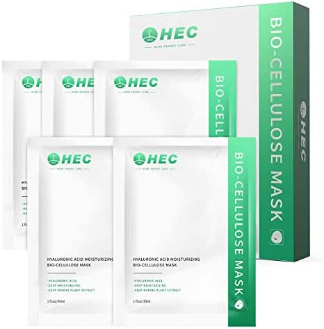 Hydrating Face Mask Anti-Aging, Diminish Fine Lines & Wrinkles with Hyaluronic Acid Essence - Bio Cellulose Facial sheet Mask - 5 pack