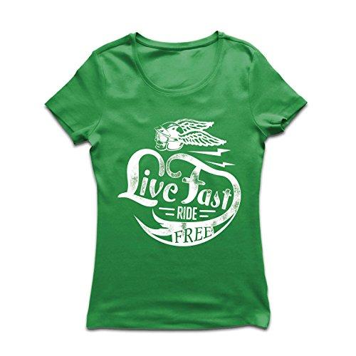 lepni.me Camiseta Mujer Live Fast Die Free - Ropa de Ciclista clásica, Equipamiento de Moto, Refranes de Moto (X-Large Verde...